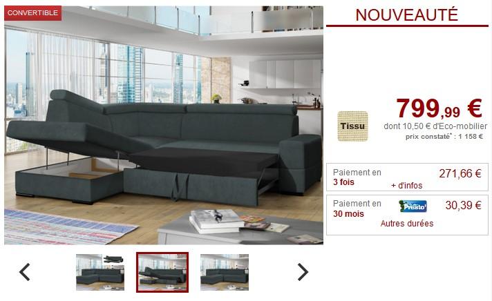 Canapé d'angle convertible NORINA en tissu - Vente Unique
