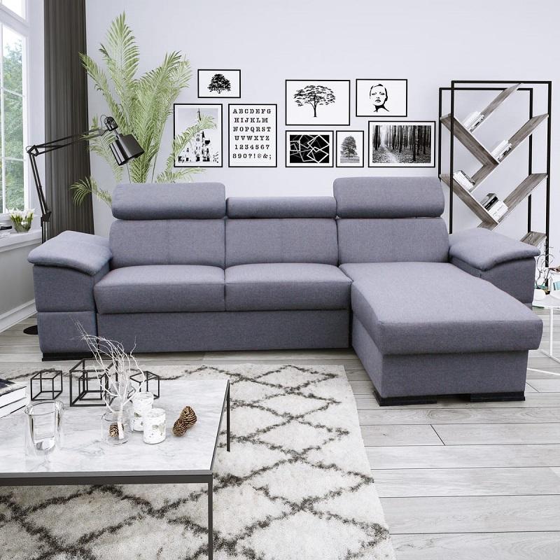Canapé d'angle convertible réversible 4 places JOY tissu gris - Auchan