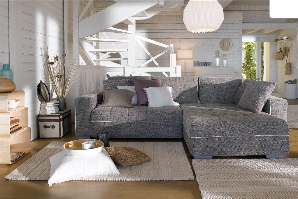 Canape D Angle Convertible Reversible Casa Coloris Gris Canape