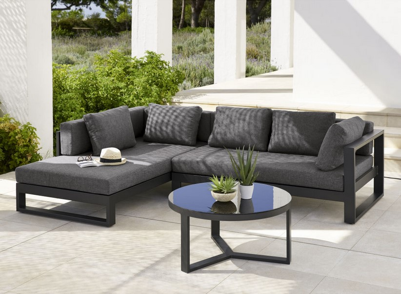 Canapé d'angle de jardin 4/5 places Thetis en aluminium noir - Maisons du Monde