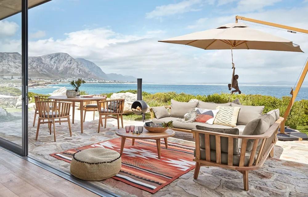 Canapé d\'angle de jardin 4/6 places Noumea en acacia massif et toile ...