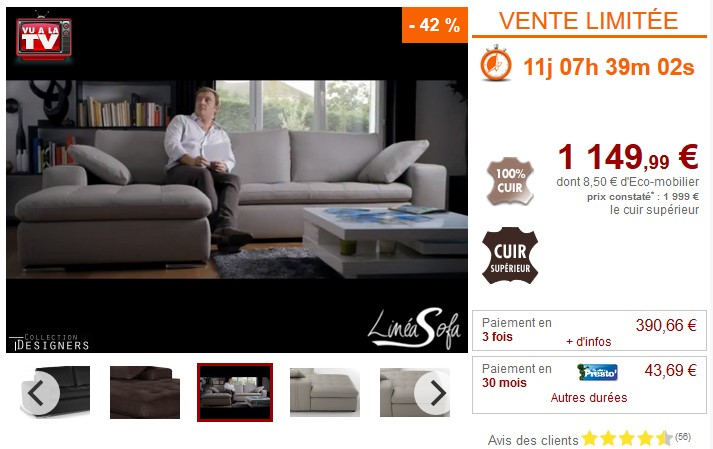 Canapé d'angle personnalisable ELEGANCIA en cuir - Vente Unique