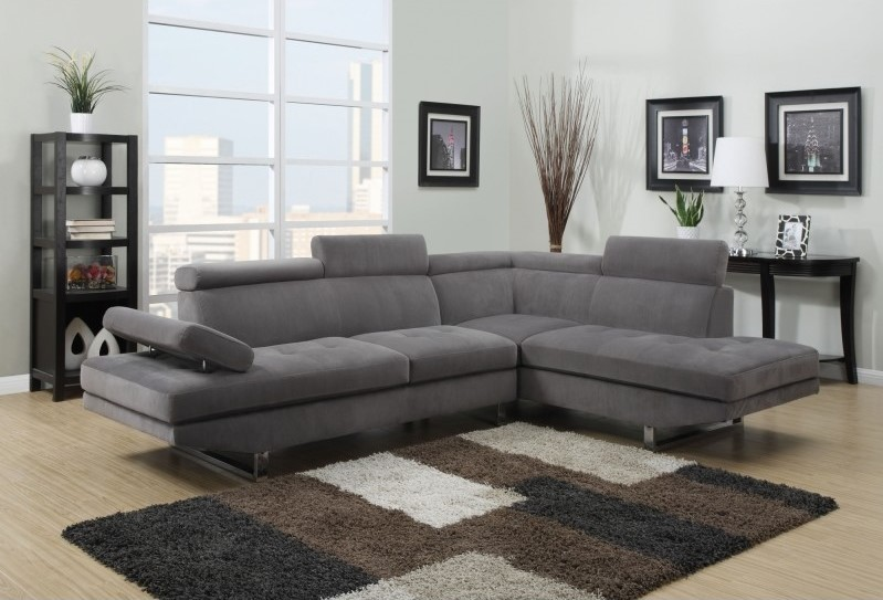 canapé d'angle design rubic en tissu gris pas cher - canapé
