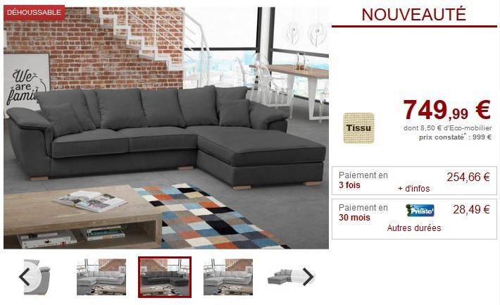 Canapé d'angle DONNA tissu couleur noir ou gris - Vente Unique