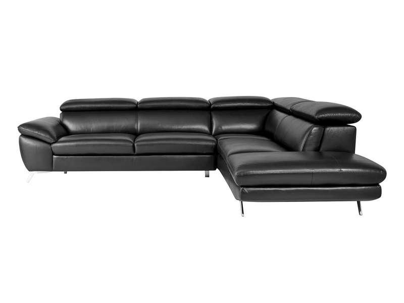 Canapé d'angle droit 4 places en cuir TARANTO - Soldes Canapé Conforama