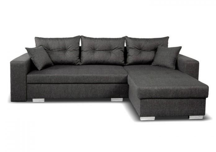 Canapé d'angle droit convertible 4 places ARIZONA en tissu gris avec coffre de rangement