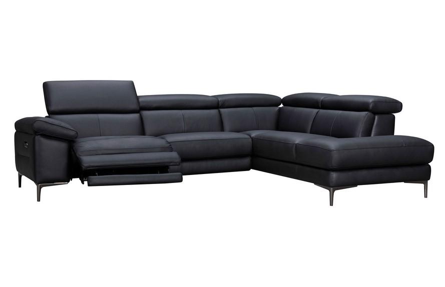 Canapé d'angle droit relax électrique KITIA en cuir noir