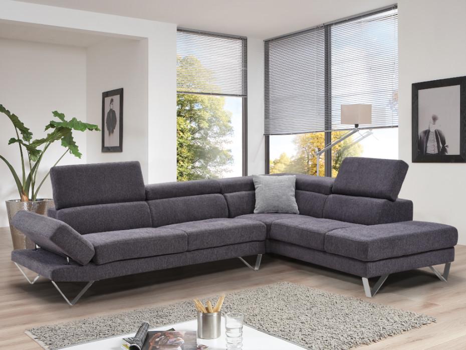 Canapé d'angle tissu GRIBE avec têtière anthracite ou gris - Vente Unique