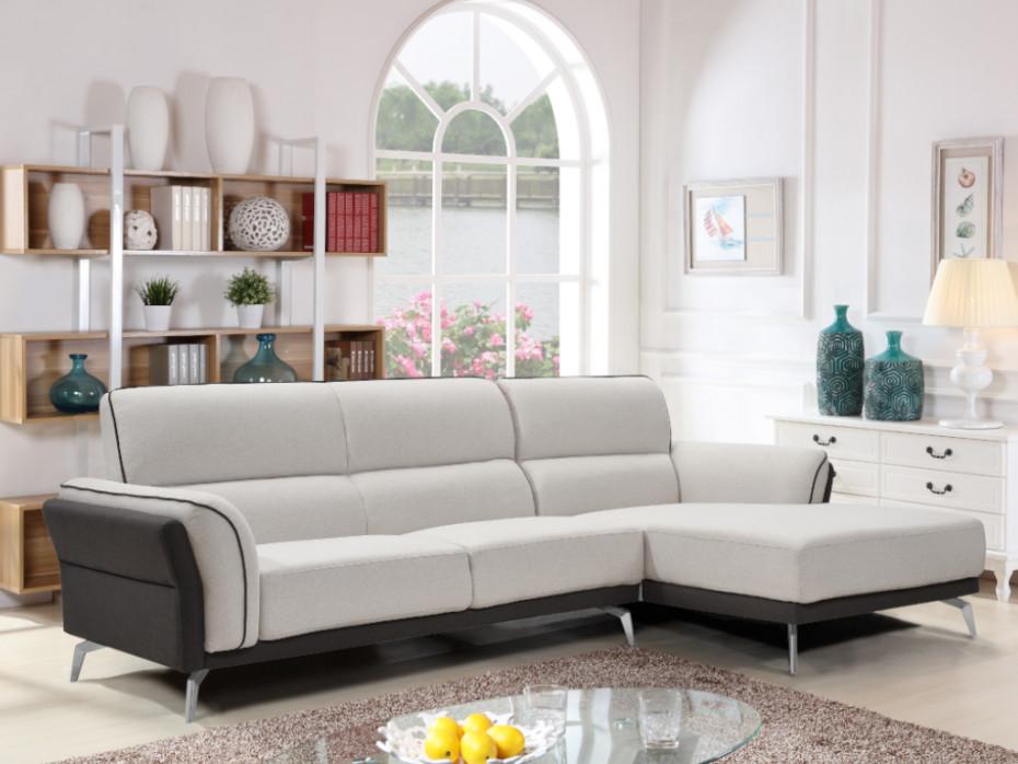 Canapé d'angle JULES en tissu couleur noir ou gris - Vente Unique