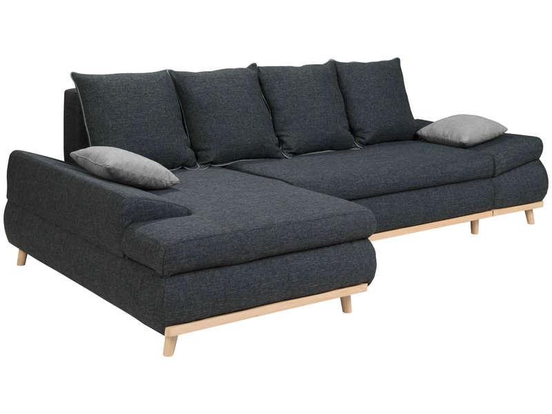 Canapé d'angle gauche convertible 5 places en tissu MALMOE gris foncé/gris clair - Conforama
