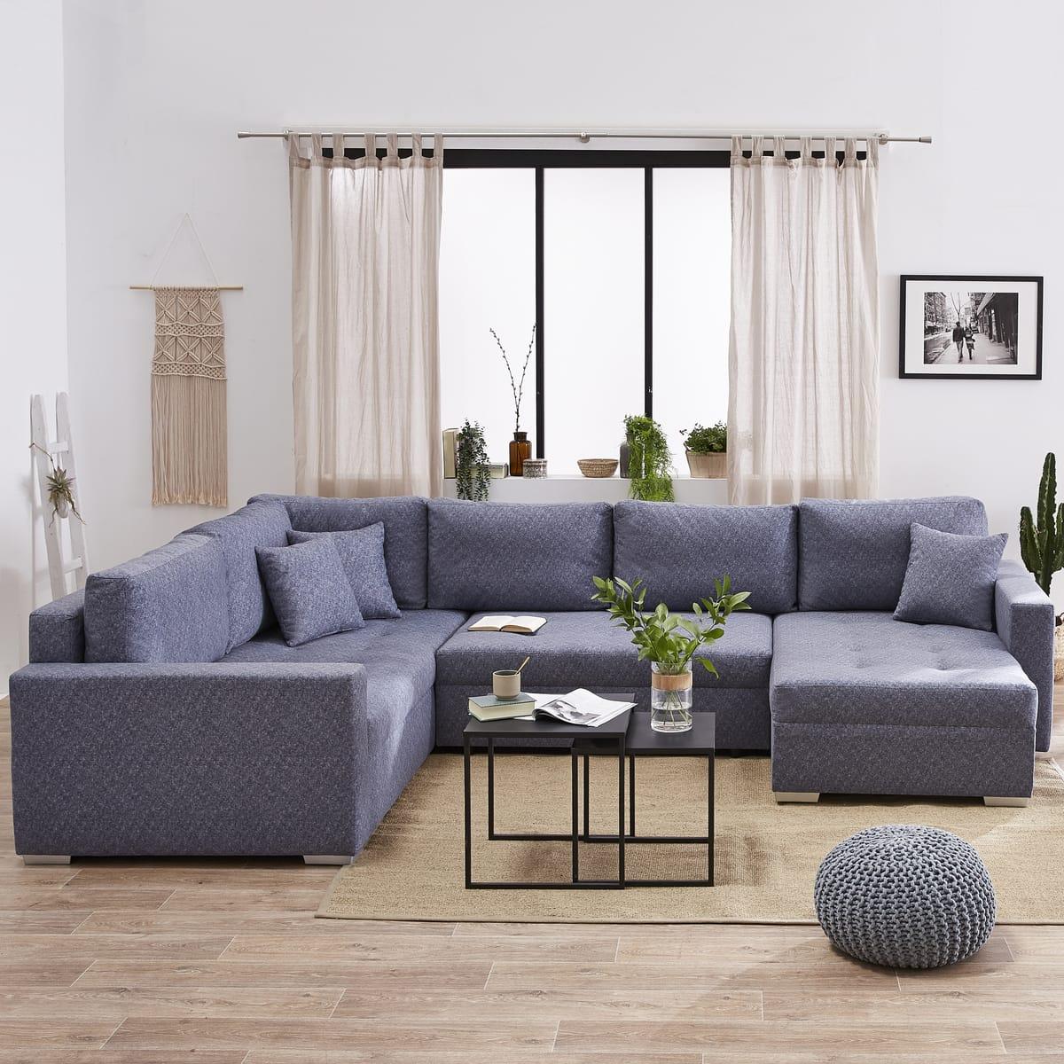 Canapé d'angle gauche convertible panoramique 5 places MAGNUS tissu simili avec coffre - Auchan