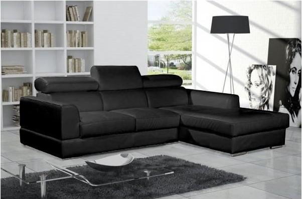 canapé d'angle neto noir design cuir pas cher - canapé cdiscount