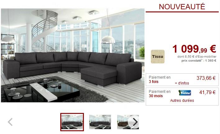 énorme réduction a312c 7ca98 Canapé panoramique en tissu Sur Iziva - Iziva.com