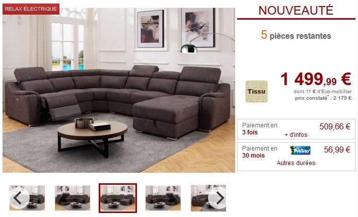 soldes canap vente unique canap d 39 angle panoramique arnaud en cuir noir. Black Bedroom Furniture Sets. Home Design Ideas