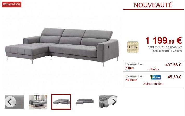 440a90d315e Canapé angle relax électrique assise coulissante LITENI pas cher ...