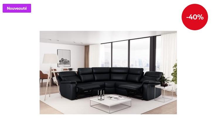Canapé d'angle relax électrique simili 5 places HELENA - Auchan