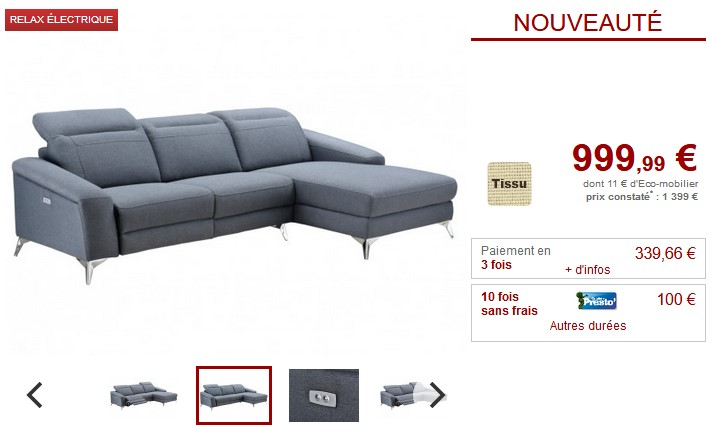 Canape D Angle Relax Electrique Umberto En Tissu Pas Cher Canape