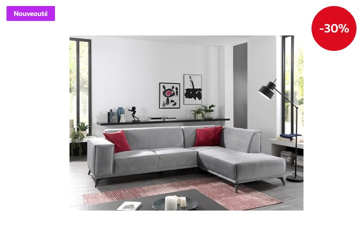 Canapé d'angle droit 4 places YSEUT tissu toucher doux pieds métal - Auchan
