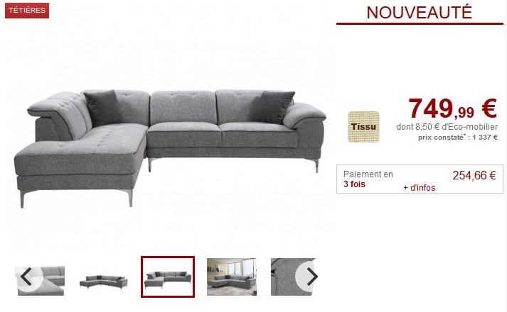 Canapé d'angle TIANZIen tissu coloris Gris clair - Vente Unique
