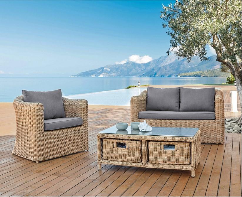 Canapé de jardin Corsica 2 places en résine tressée - Soldes ...