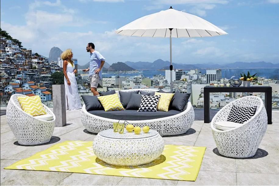 Canapé de jardin 3 places Durban en résine tressée blanc - Maisons du Monde