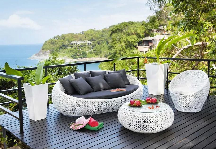 Canapé de jardin 3 places Durban en résine tressée blanc ...