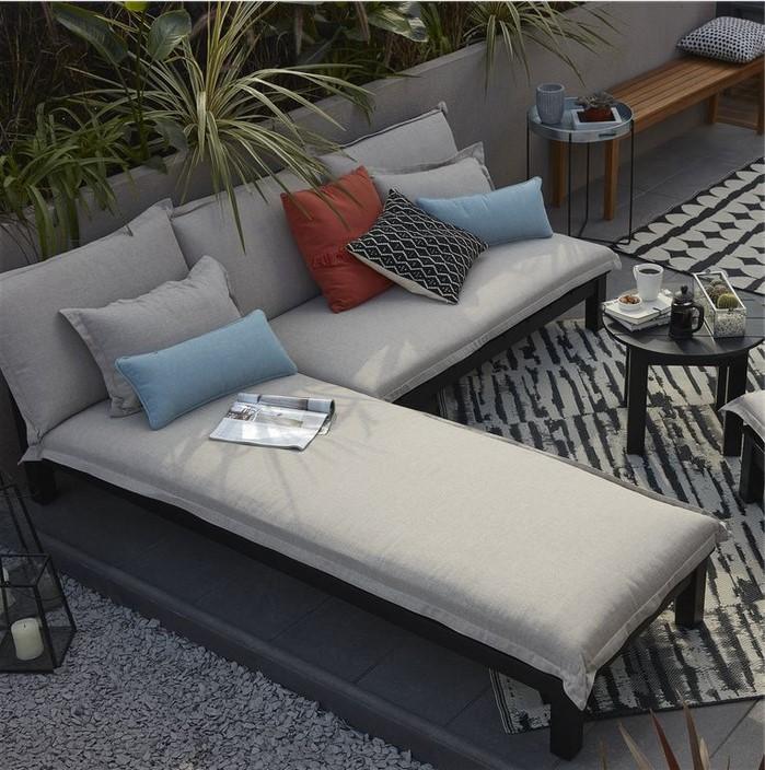 Canapé de jardin en bois Blooma Pontine noir pas cher - Salon de ...
