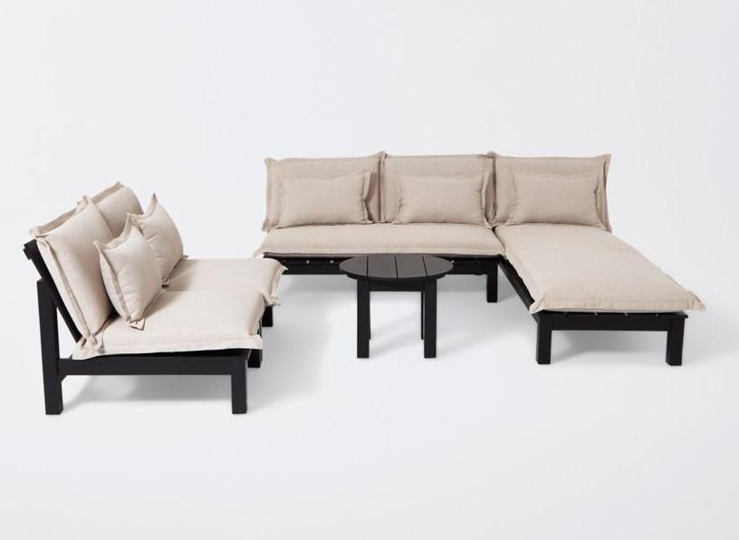 Canapé de jardin en bois Blooma Pontine noir pas cher ...