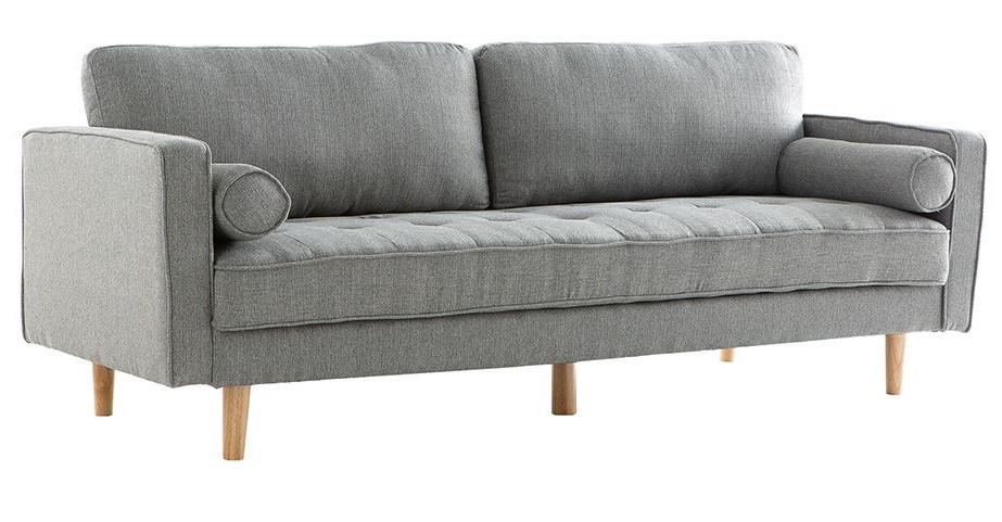Canapé design 3 places IMPERIAL en tissu gris clair - Miliboo