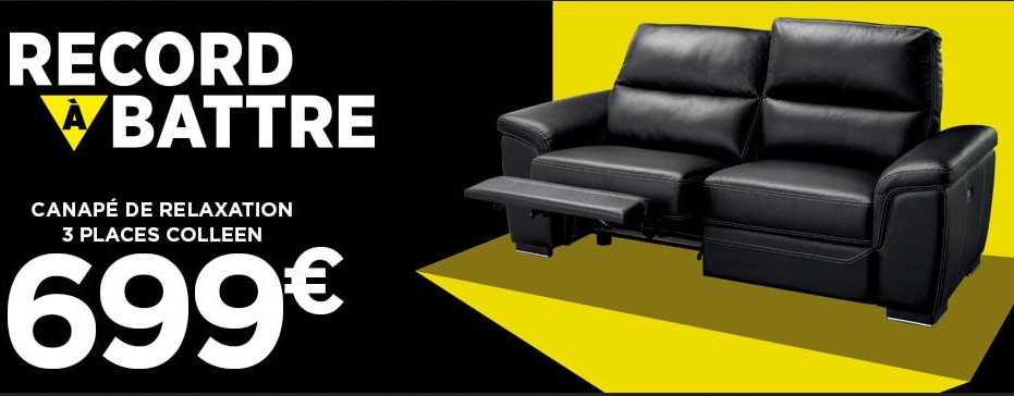 Canapé Droit Relaxation électrique 3 Places Colleen En Cuir