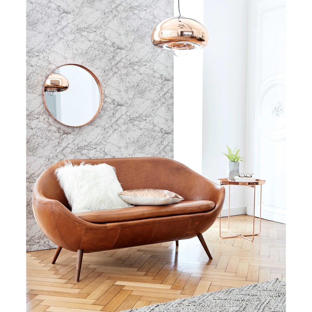 canap en cuir cognac home run canap maisons du monde. Black Bedroom Furniture Sets. Home Design Ideas
