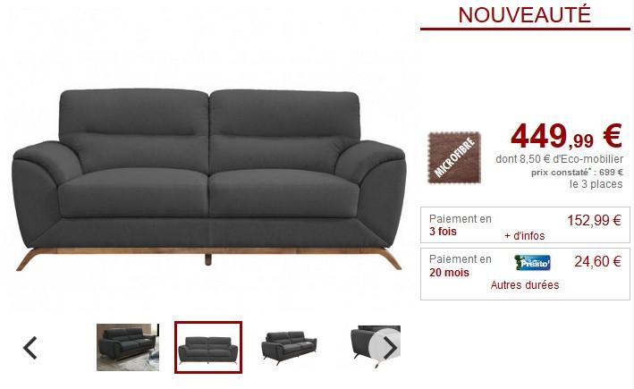 Canapé en microfibre et pieds bois YASMINE - Vente Unique