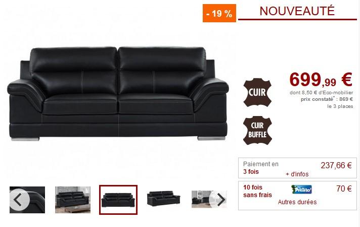 Canapé et fauteuil MONIKA en cuir de buffle noir - Vente Unique