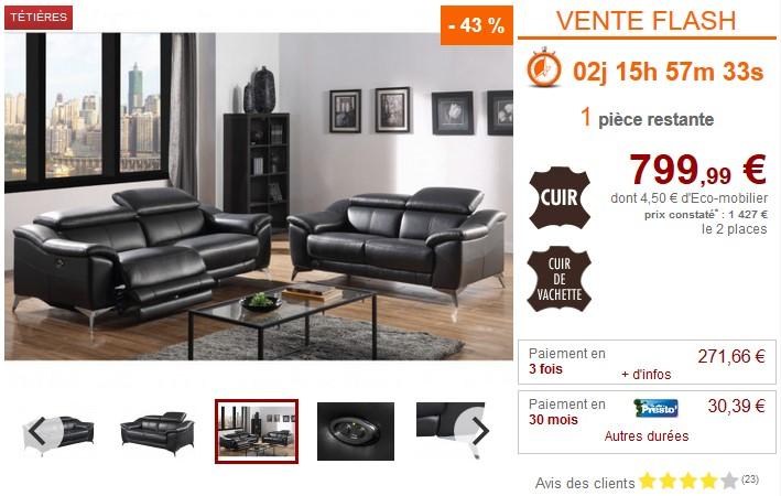 Canapé 2 places relax électrique en cuir DALOA - Vente Unique