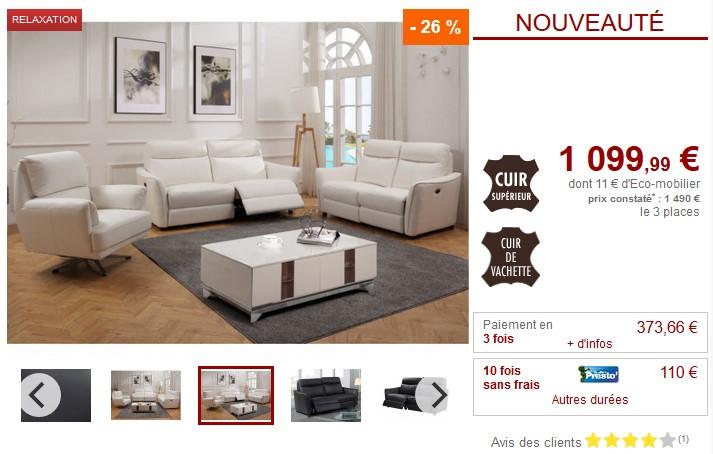 Canapé et fauteuil relax électrique WATFORD en cuir - Vente Unique