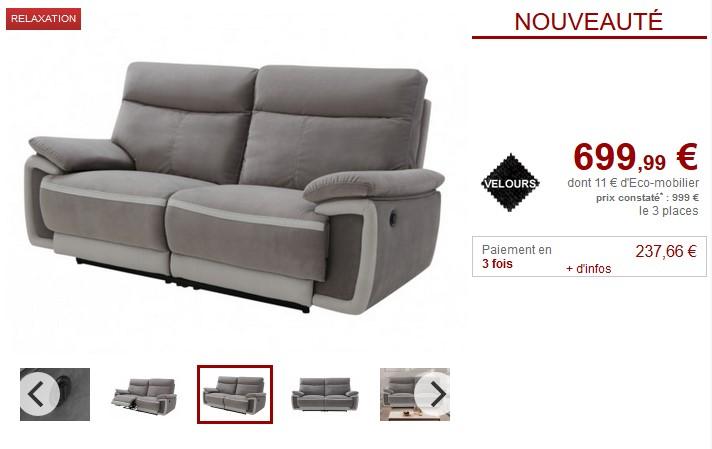 Canapé 3 places relax électrique METTI en velours - Vente Unique