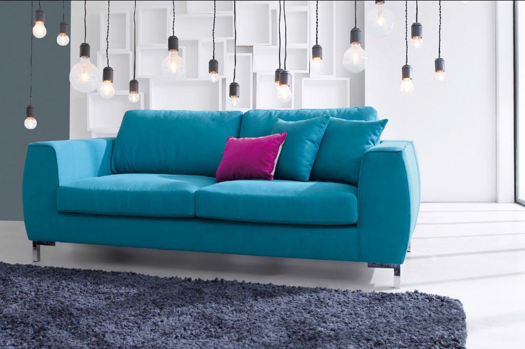 canap fixe 3 places eddie coloris bleu canard canap conforama - Canape Bleu