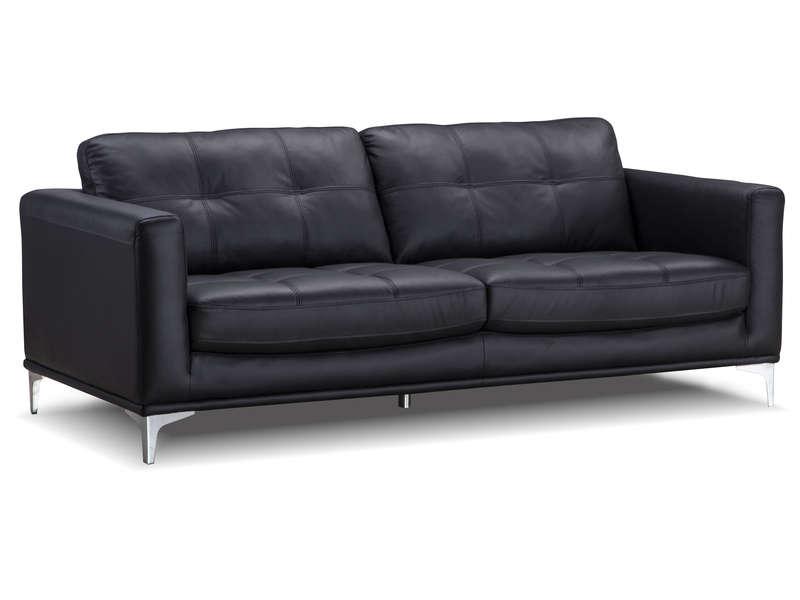 Canapé fixe 3 places en cuir BOLERO coloris noir - Conforama