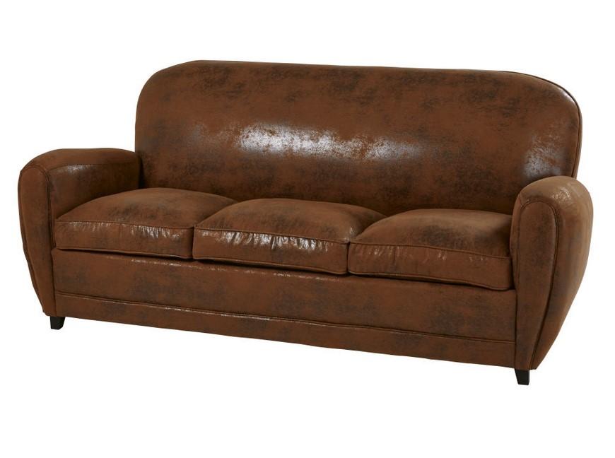 Canapé-lit vintage 3 places Arizona en suédine marron - Maisons du Monde