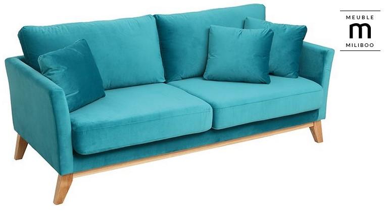 canap scandinave 3 places oslo miliboo velours bleu pieds bois canap miliboo. Black Bedroom Furniture Sets. Home Design Ideas
