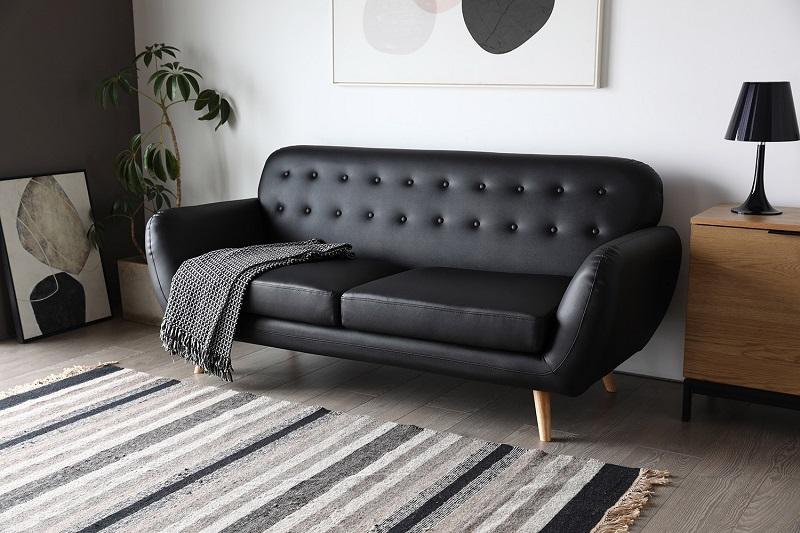 Canapé rétro Scandinave 3 places Helsinki cuir noir - Concept Usine