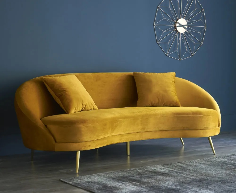 Canapé vintage 3/4 places Glover en velours jaune - Maisons du Monde