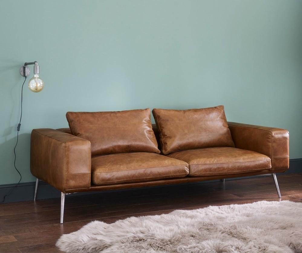 canap vintage 4 places fabric en cuir havane canap maisons du monde. Black Bedroom Furniture Sets. Home Design Ideas
