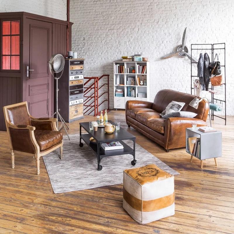 Canapé vintage 3 places Oxford en cuir marron - Maisons du Monde