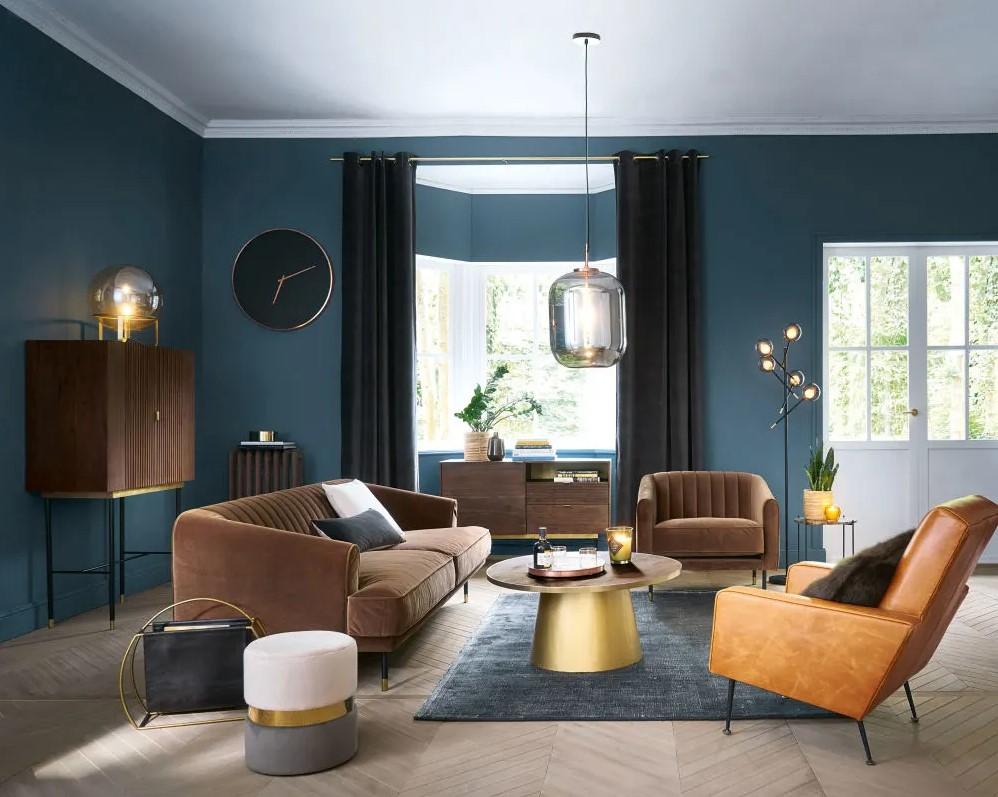 Canapé vintage 3 places Costello en velours marron - Maisons du Monde