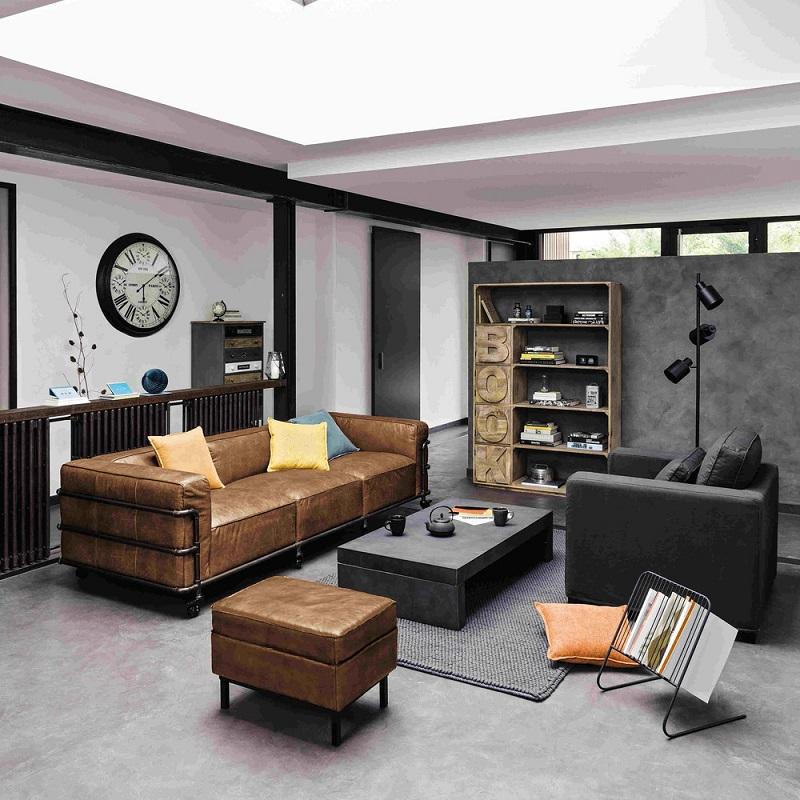 Canapé vintage 4 places Fabric en cuir havane - Canapé Maisons du ...