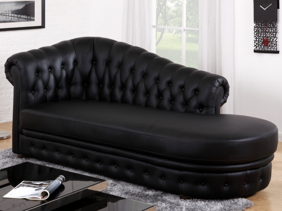 Méridienne Chesterfield en simili DEFILE Noir - Canapé ...