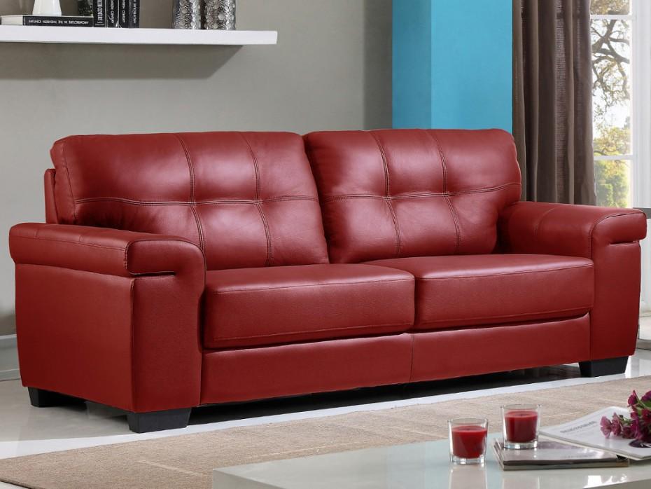 canap 3 places en cuir rouge hazel canap vente unique. Black Bedroom Furniture Sets. Home Design Ideas