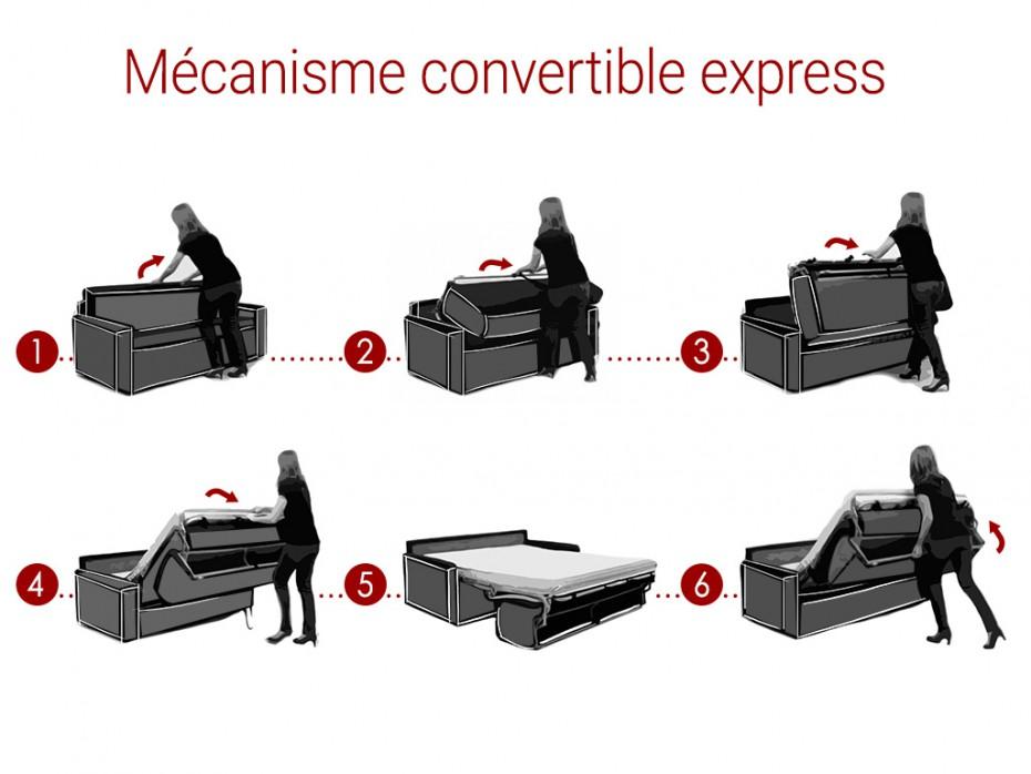 Canapé 4 places convertible express CALIFE 14 cm simili Noir - Vente Unique