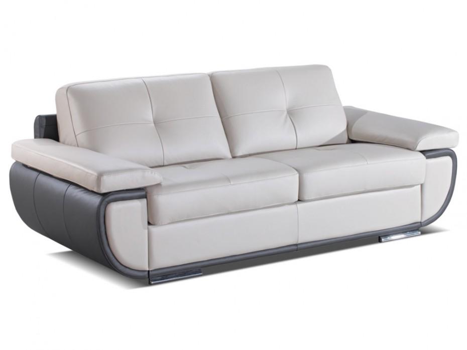 Canapé 3 places cuir luxe convertible gris ORGULLOSA